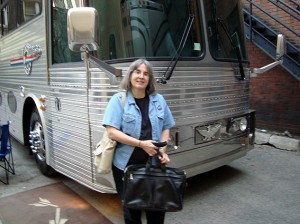 Sharry in front of Neil Young's tour bus at Massey Hall 2011
