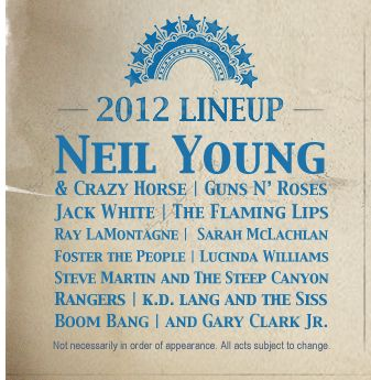 Bridge School Benefit 2012 line-up